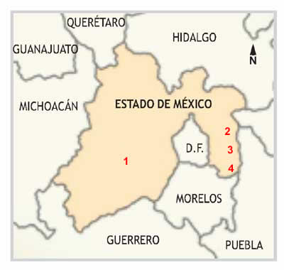 Mapa del Estado de México con las zonas de alto riesgo para montañistas