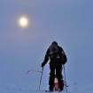 Dupre a la bajada del Denali después de haber estado metido en un whiteout. Fotos cortesía del sitio web de Lonnie Dupre.