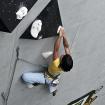 En el muro de escalada de velocidad. Foto: Carlos Rangel