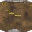 Donde están las diferentes estaciones depositadas en Marte. Nótese que el Curiosity está cerca de la línea del Ecuador. Imagen: NASA.