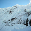 En el Huantsán. La pared noroeste está a la derecha, fuera de la foto.