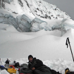 Sitio de vivac, seguro de avalanchas y grietas. Foto: Daniel Araiza