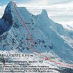 La ruta que siguieron Luis Antonio Fernández y Juan Carlos Gavilanes en 1993 se muestra en una línea roja. Foto y leyenda: Juan Carlos Gavilanes.
