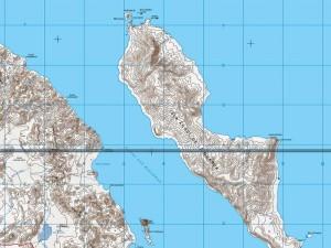 Mapa topográfico de la Isla Angel de la Guarda, INEGI