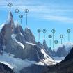 El grupo del Cerro Torre. 2- Cerro Torre, 3- Torre Egger, 4- Punta Herrón, 5- Aguja Standhardt, 7- Aguja Bífida, 11- Cuatro Dedos. Foto: Wikipedia.